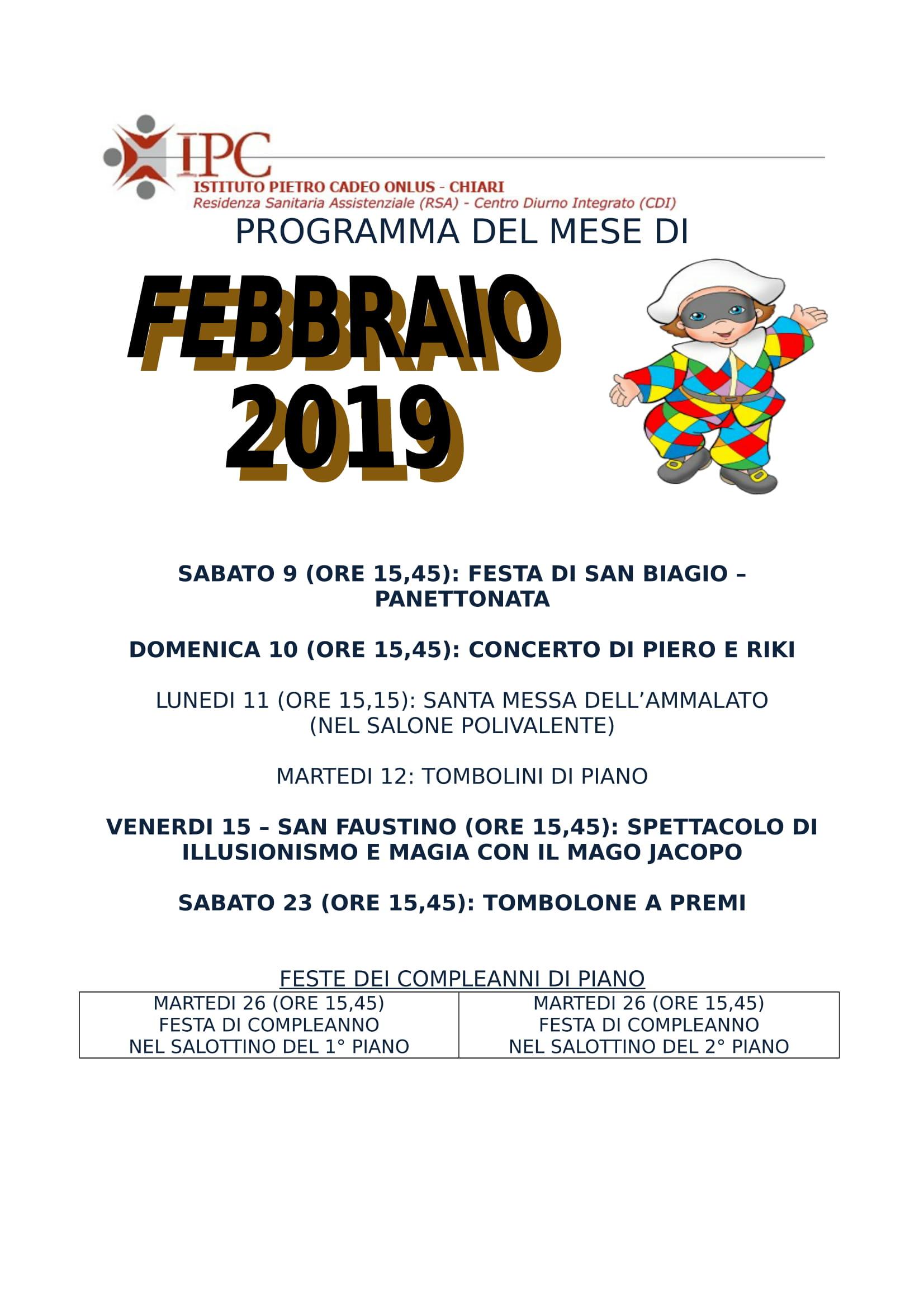 PROGRAMMA FEBBRAIO 2019-1